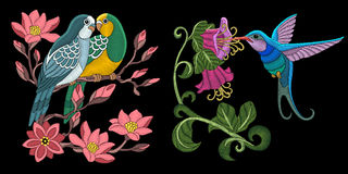 Embroidery birds design Stock Photography