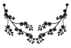 Embroidery blossoming cherry branches on a black background. black petals fall off. fashion clothing decoration. traditional patte Stock Photography