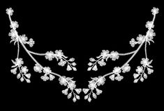 Embroidery blossoming cherry branches on a black background. white petals fall off. fashion clothing decoration. traditional patte Royalty Free Stock Photo