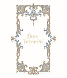 Embroidery with blue and beige vintage frame Royalty Free Stock Images