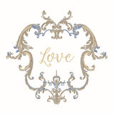 Embroidery with blue and beige vintage frame Royalty Free Stock Photo