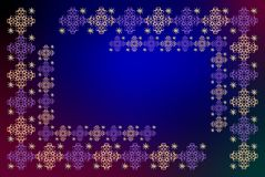 Embroidery on blue. A symmetrical geometries of forms on a red to blue background, suggesting the night and sleep Royalty Free Stock Photo