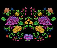 Embroidery botanical trend pattern with colorful simplify flowers. Vector embroidered floral patch for clothing design vector illustration