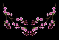 Embroidery branch of pink cherry blossoms on a black background. Sakura flowers. Spring in Japan.  illustration Royalty Free Stock Images