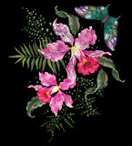 Embroidery brigt trend floral pattern with orchids and butterfly Stock Image
