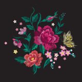 Embroidery brigth trend floral pattern with butterfly. Vector traditional folk roses and forget me not flowers bouquet on black background for clothing design vector illustration
