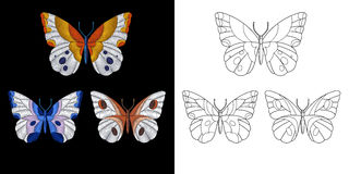Embroidery butterfly design Royalty Free Stock Photo