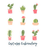 Embroidery Cactus icon set. Cute succulent fashion embroidery for fabric design or clothes in scandinavian style Royalty Free Stock Photography