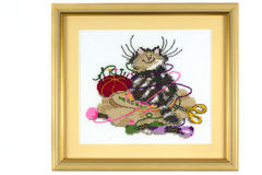 Embroidery_cat Image stock