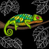 Embroidery chameleon fabric design. Embroidery chameleon artwork for clothing, patches and stickers. Tropical lizard and monstera leaves. Decorative fancywork Royalty Free Stock Photo