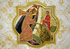 Embroidery of Christ and Christian Followers Stock Images