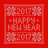 Embroidery Christmas card with cross stitch embroidered congratulation Happy New Year 2017. White on red background. Christmas scheme design. Vector Stock Photos