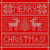 Embroidery Christmas card with cross stitch embroidered deers in frame. Stock Image