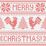 Embroidery Christmas card with cross stitch embroidered roosters. Royalty Free Stock Photography