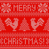 Embroidery Christmas card with cross stitch embroidered roosters. Stock Photography