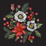 Embroidery christmas pattern with flowers, pine and mistletoe. Royalty Free Stock Photos