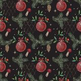 Embroidery christmas seamless pattern with mushrooms, pine cones and balls. Vector embroidered new year floral design for fashion, fabric, wrapping Stock Photography