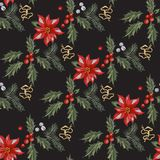 Embroidery christmas seamless pattern with red flowers, pine and mistletoe. Vector embroidered new year floral elements for design stock illustration