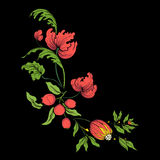 Embroidery for the collar line. Floral ornament in vintage style vector illustration