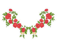 Embroidery for the collar line. Floral ornament in vintage style stock illustration