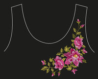 Embroidery colorful asymmetrical floral pattern with dog roses. Royalty Free Stock Photography