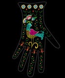 Embroidery colorful ethnic floral pattern on glove design. Vector traditional folk bird with flowers ornament on black background royalty free illustration