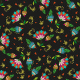 Embroidery colorful ethnic floral seamless pattern with hearts. Vector traditional folk exotic flowers and redish ornament on black background stock illustration