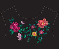 Embroidery colorful ethnic neck line floral pattern with big ros Royalty Free Stock Photo