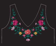 Embroidery colorful ethnic neck line floral pattern with roses. Embroidery colorful simplified ethnic neck line floral pattern with roses. Vector symmetric vector illustration