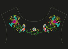 Embroidery colorful ethnic neck line floral pattern. Vector traditional folk bird with flowers ornament on black background royalty free illustration