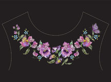 Embroidery colorful ethnic neck line pattern with pansies and bu. Tterfly. Vector traditional folk floral design on black background for fashion wearing stock illustration