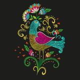 Embroidery colorful ethnic pattern in traditional folk bird with. Embroidery colorful ethnic floral pattern. Vector traditional folk bird with flowers ornament stock illustration