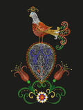 Embroidery colorful exotic bird floral pattern. Vector trend folk peacock with flowers ornament on black background stock illustration