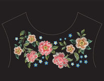 Embroidery colorful fashion ethnic neck line floral pattern with. Roses. Vector traditional folk flowers ornament on black background for clothing design royalty free illustration