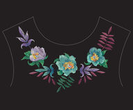 Embroidery colorful fashion ethnic neckline pattern with exotic. Embroidery colorful fashion ethnic neck line pattern with exotic flowers. Vector traditional royalty free illustration