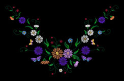 Embroidery colorful floral pattern with dog roses and forget me not flowers. Vector traditional folk fashion ornament on. Black background. illustration stock photography