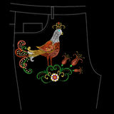Embroidery colorful floral pattern with exotic bird for jeans. Vector denim trend folk ornament with flowers on black background vector illustration
