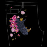 Embroidery colorful floral pattern with exotic rhinoceros for jeans. royalty free illustration