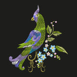 Embroidery colorful floral pattern with fantasy parrot. Vector trend folk green bird with flowers ornament on black background vector illustration