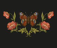 Embroidery colorful floral pattern with peacock butterfly. Vector traditional folk poppy flowers ornament on black background. Horizontal symmetrical vector illustration