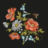 Embroidery colorful floral pattern with poppy and daisy flowers. Royalty Free Stock Photos