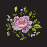 Embroidery colorful floral pattern with rose. Stock Image