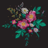Embroidery colorful floral pattern with vinous dog rose. Embroidery colorful floral pattern with vinous dog rose and chamomiles. Vector traditional fashion royalty free illustration