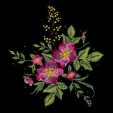 Embroidery colorful floral pattern with vinous dog roses. Vector traditional fashion flowers ornament on black background for design vector illustration