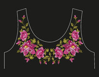 Embroidery colorful neck line floral pattern with dog roses. Vector traditional folk flowers ornament on black background vector illustration