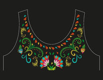 Embroidery colorful neck line floral pattern with exotic flowers. Vector trend folk plants and hearts ornament on black background royalty free illustration