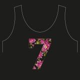 Embroidery colorful neck line floral pattern number seven with d. Og roses. Vector trend folk flowers ornament on black background Stock Image