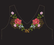 Embroidery colorful romantic ethnic neck line floral pattern wit. H roses and lace. Vector symmetric traditional folk flowers ornament on black background for royalty free illustration