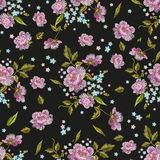 Embroidery colorful  seamless pattern with roses and forget me n Royalty Free Stock Photo
