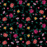 Embroidery colorful simplified ethnic floral seamless pattern. royalty free illustration